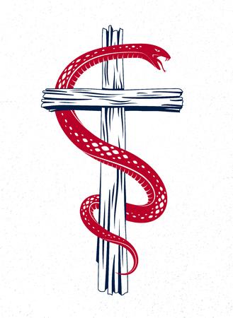 Snake wraps around Christian cross, the struggle between good and evil Vektoros illusztráció
