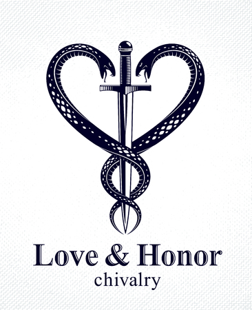 Dagger and two snakes in a shape of heart vintage style emblem or logo