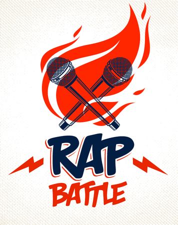 Rap Battle emblem with two microphones crossed and fire, Hip Hop hot rhymes music mic in a flames