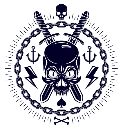Aggressive skull pirate emblem Jolly Roger with weapons and other design element