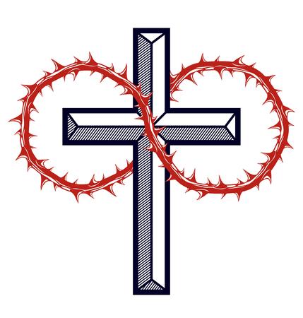 Christian cross with blackthorn thorn