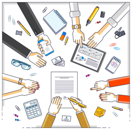 Business team make a presentation for investor and explains their plan with analytics, loaner or CEO chief signs financial document or order approve, deal conclusion. Top view of people hands. Vector.