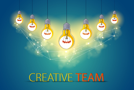 Group of shining light bulbs represents idea of creative people teamwork having ideas working together Ilustração