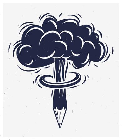 Pencil with nuclear explosion mushroom shape, creative explosion or energy concept, exploding creativity, vector conceptual logo or icon.