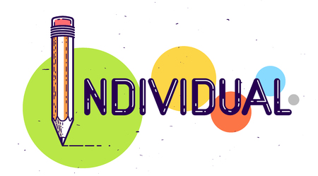 Individual word with pencil instead of letter I, individuality and personality concept, vector conceptual creative logo or poster made with special font. Logo