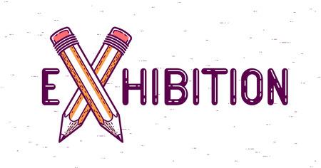 Parola di esposizione con matite incrociate invece della lettera X, arte e design, logo creativo concettuale vettoriale o poster realizzato con carattere speciale.