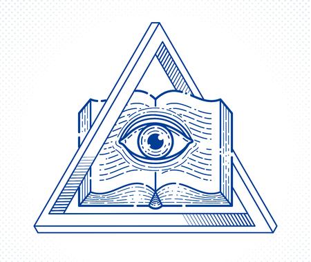 Livre ouvert vintage de connaissances secrètes avec tout l'œil voyant de dieu dans le triangle de la géométrie sacrée, la perspicacité et l'illumination, le symbole de maçonnerie ou d'illuminati, le logo vectoriel ou l'élément de conception d'emblème.