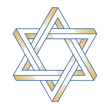 Jewish hexagonal star sacred geometry religion symbol created from two dimensional triangles impossible shapes, vector logo or emblem design element.