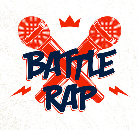 Rap Battle vector logo or emblem with two microphones crossed, Hip Hop hot rhymes music mic in a flames, concert festival or night club label, t-shirt print. Ilustração