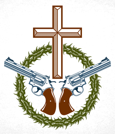 Criminal gangster dramatic emblem or logo with Christian Cross symbolizing death, vector vintage style tattoo, rebel rioter partisan and revolutionary. Standard-Bild - 123890776