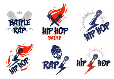 Rap music vector logos or emblems set with microphone in hand flames and lightning bolt, hot Hip Hop rhymes festival concert or night club party labels, t-shirt prints. Ilustração