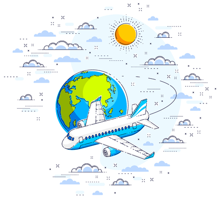 Plane airliner with earth planet in the sky surrounded by clouds, airlines air travel illustration. Beautiful thin line vector isolated over white background. Illusztráció