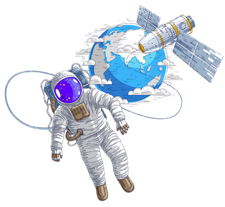 Astronaut went out into open space connected to space station and earth planet in background, spaceman floating in weightlessness and spacecraft with solar panels behind him. Vector. 向量圖像