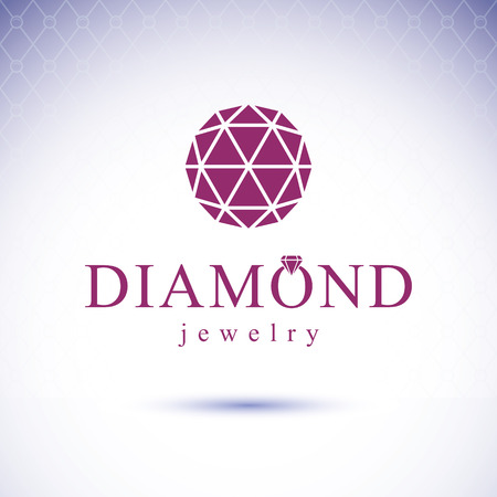 Vector glossy gemstone design element. Faceted jewelry sign emblem, logo. Brilliant diamond illustration.