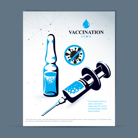 Children scheduled vaccination advertisement brochure. Vector graphic illustration of medical ampoule and syringe for injections.