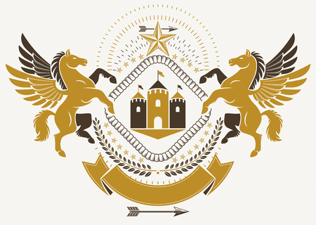 Vintage heraldry design template, vector emblem created using mythic Pegasus illustration and ancient castle.