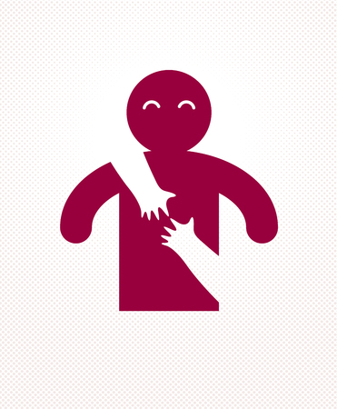 Beloved man with care hands of a lover woman hugging him around from behind, vector icon logo or illustration in simplistic symbolic style.