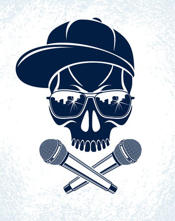 Hip Hop music vector logo or label with wicked skull and two microphones crossed like crossbones, Rap rhymes night club party festival or concert emblem, t-shirt print.