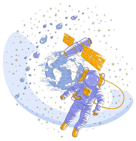 Astronaut flying in open space connected to space station and earth planet in background, spaceman in spacesuit floating in weightlessness and spacecraft, asteroids and stars. Vector isolated.
