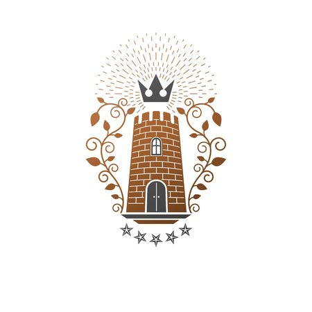 Ancient Fort emblem. Heraldic Coat of Arms decorative logo isolated vector illustration. Antique logotype in old style on white background.