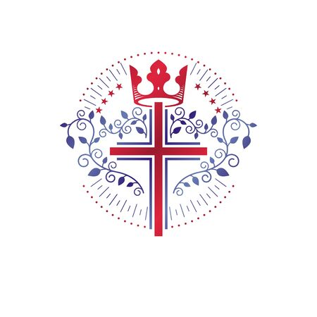 Cross Religious graphic emblem created using monarch crown and floral ornate, catholic crucifixion. Heraldic Coat of Arms, vintage vector logo isolated on white background. Illustration