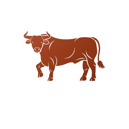 Bull ancient emblem animal element. Heraldic vector design element. Retro style label, heraldry logo. Ilustração