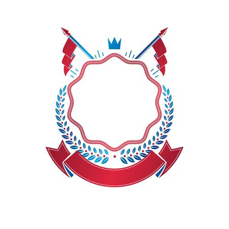 Graphic emblem created with ancient Crown and laurel wreath. Heraldic vector design element decorated with ribbon. Retro style label, heraldry logo.