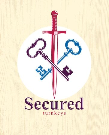 Crossed keys and dagger vector symbol emblem, turnkeys and sword, protected secrets, secured power, ancient vintage logo or emblem. Ilustração