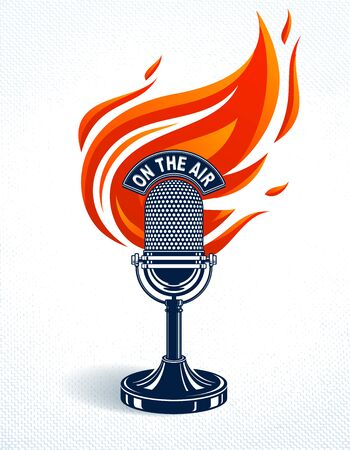 Vintage microphone on fire, hot mic in flames, studio recording music, on the air typing, vector logo or illustration, live radio translation, standup comedy, t-shirt print. Ilustrace