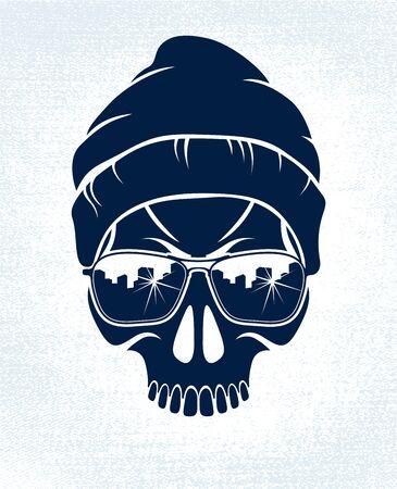 Gangster skull vector logo, icon or tattoo, urban stylish aggressive criminal scull.