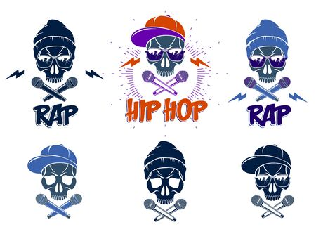 Rap music vector set logos or emblems with aggressive skull and two microphones crossed like bones, Hip Hop rhymes festival concert or night club party labels, t-shirt prints. Ilustração