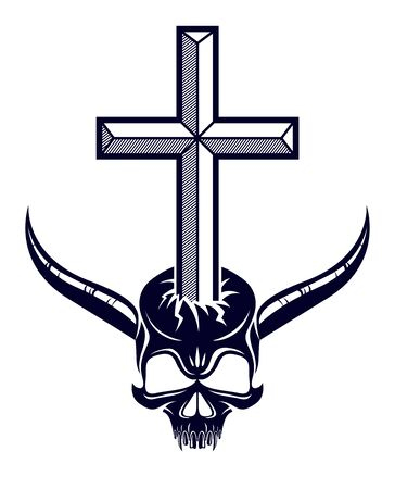 Christian cross kills dead head skull of Satan, Devil and God fight, good and evil struggles, good always defeats evil.
