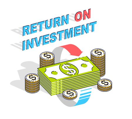 Return on Investment concept, cash money stack with radial loop arrows around. Vector 3d isometric business and finance illustration, thin line design.