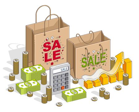 Big Sale concept, Retail, Sellout, Shopping Bag with cash money stacks and calculator isolated on white background. Vector 3d isometric business and finance illustration, thin line design. Illustration