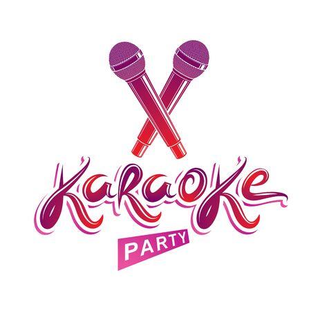 Karaoke party lettering, rap battle vector emblem created using two crossed microphones audio equipment. Иллюстрация