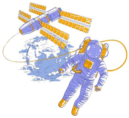 Astronaut flying in open space connected to space station and earth planet in background, spaceman in spacesuit floating in weightlessness and spacecraft with solar panels behind him. Vector.