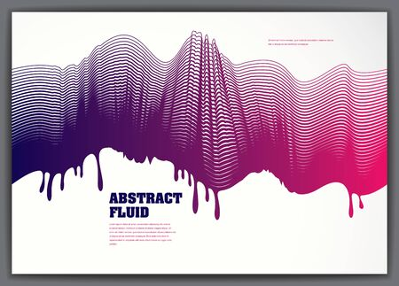 Vector fluid flow wavy abstract background. 3d colorful gradient motion art. Lined texture, dynamic surface, curve lines, flow shape.