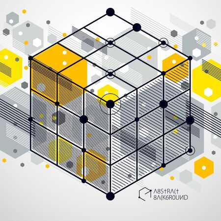 Vector drawing of yellow industrial system created with lines and 3D cubes. Modern geometric composition can be used as template and layout.