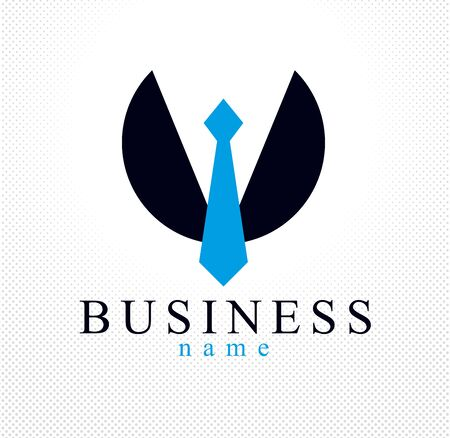 Tie and suit in round shape businessman concept vector logo or icon, business person man or company. Vectores