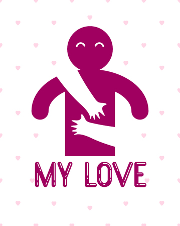Loved man with care hands of a lover woman hugging and caresses his chest, vector icon logo or illustration in simplistic symbolic style.