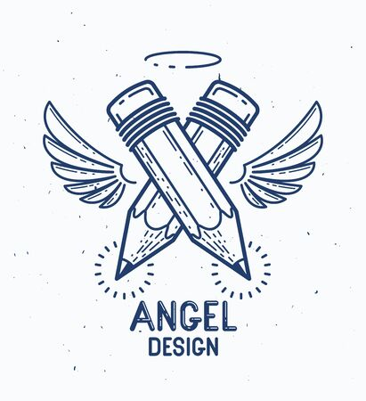 Two crossed pencils with wings and nimbus, vector simple trendy logo or icon for designer or studio, creative spirit, angel design, linear style. Banque d'images - 124966879