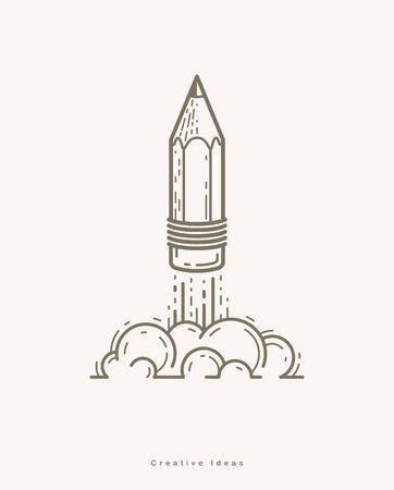 Pencil launching like a rocket start up, creative energy genius artist or designer, vector design and creativity logo or icon, art startup. Illustration