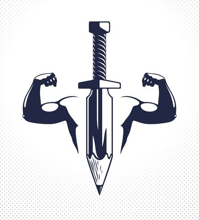 Idea is a weapon concept, weapon of a designer or artist allegory shown as sword with pencil instead of blade and strong man hands showing bicep, creative power, vector logo or icon.