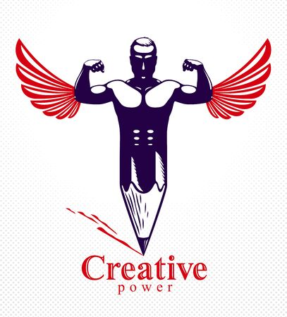 Strongman muscle man combined with pencil and wings into a symbol, strong design concept, creative power allegory, vector perfect classic style logo or icon.