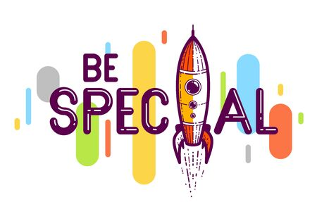 Special word with rocket instead of letter I, vector conceptual creative logo or poster made with special font. Çizim