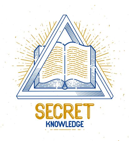 Secret knowledge vintage open book with sacred geometry triangle, insight and enlightenment, education and science, vector logo or emblem design element.