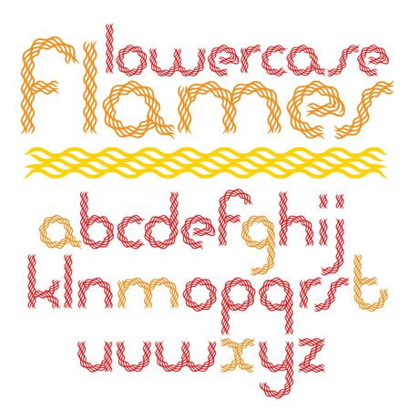 Vector script, modern rounded alphabet letters set made with red infernal blaze