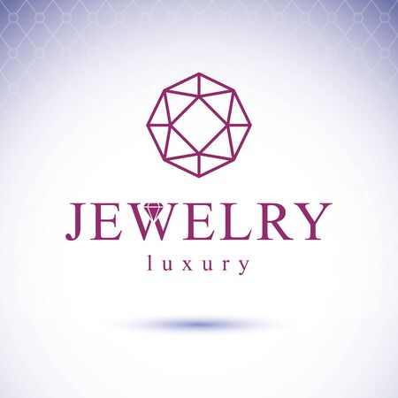 Vector glossy gemstone design element. Faceted jewelry sign emblem. Brilliant diamond illustration.