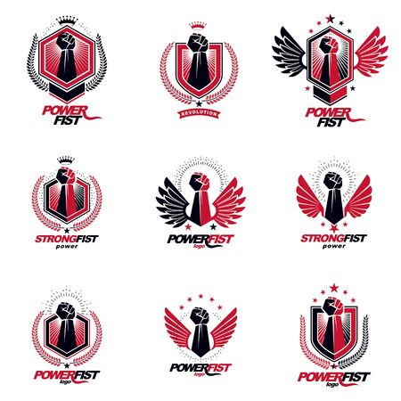 Set of vector symbols created with clenched fist of athletic man, eagle wings, pentagonal stars and different graphic elements. Best fighter vector emblems, champion concept.