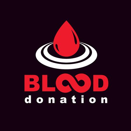 Vector blood donation inscription created with limitless symbol. Save life and donate blood conceptual illustration. 向量圖像